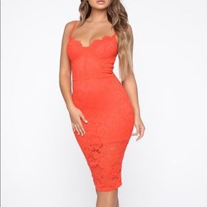 Orange lace midi dress
